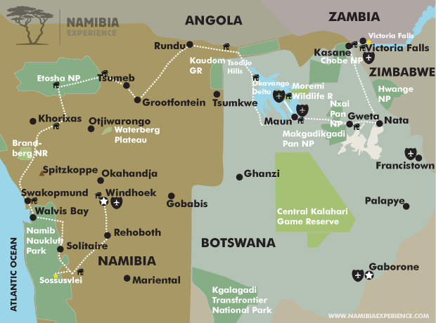 The Best of Namibia and Botswana map