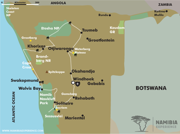 A Namibian journey map